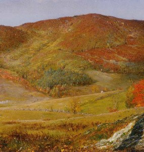 """Blueberry Hill, Vermont,"" by Frederic Church, October 1865, oil on paper mounted on canvas, 12 7/8 x 20 ½ inches, Olana State Historic Site, OL.1980.1886"