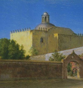"""Church of San Francisco, Cuernavaca, Mexico"" by Frederic Church, January-February 1898, oil on tan board, 7 ¾ x 11 ½ inches, Olana State Historic Site,  OL.1977.226"