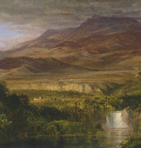 """Study for 'The Heart of the Andes'"" by Frederic Church, 1858, oil on canvas, 10 ¼ x 18 ¼ inches, Olana State Historic Site, OL.1981.47"