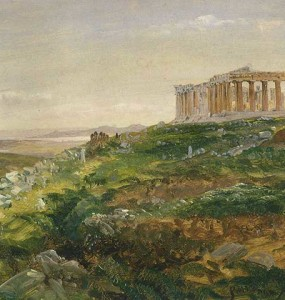 """The Parthenon and The Acropolis, Athens"" by Frederic Church, April 1869, oil on paper mounted on canvas, 11 ½  x 20 ¼ inches, Olana State Historic Site, OL.1981.74"
