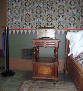 A corner of the the Church's bedroom.  Photograph by Melanie Hasbrook.
