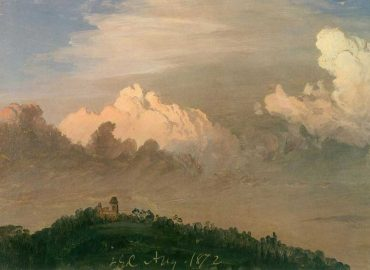"""Clouds Over Olana"" by Frederic Edwin Church,  August, 1872, oil on off-white paper, 8 11/16 x 12 1/8 inches, Olana State Historic Site,  OL.1976.1"