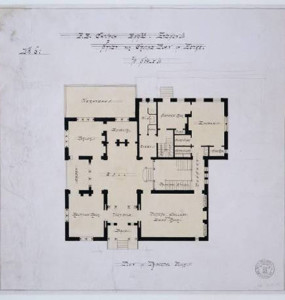 Plan of the first floor of the main house, by Calvert Vaux, c. 1870