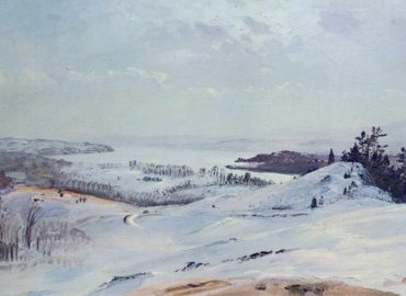 """The Hudson Valley in Winter From Olana"" c 1866-72, oil on academy board, 11 ¾ x 18 ¼ inches, Olana State Historic Site."