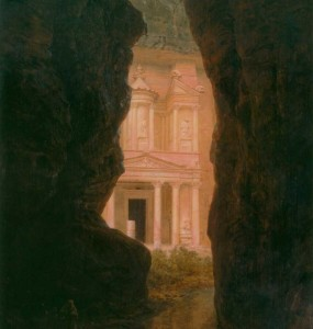"""El Khasné, Petra,"" by Frederic Church, 1874, oil on canvas, 60 ½ x 50 ¼ inches, Olana State Historic Site, OL.1981.10"