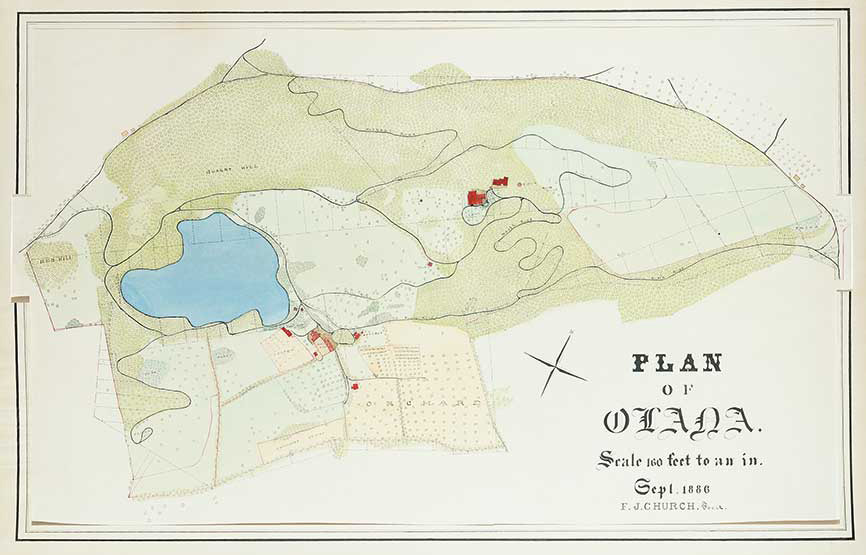 Frederic Joseph Church, Plan of Olana, September 1886, watercolor on paper, OL. 1984.39. Collection Olana State Historic Site, NYS OPRHP