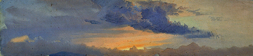 Evening Clouds above the Catskills Frederic Edwin Church, c. 1870-1875, oil and graphite on paper, 4 3/8 x 18 inches, Olana State Historic Site
