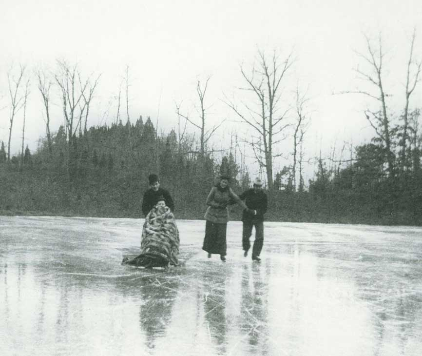 Louis and Downie Church and friends skating on the lake at Olana, by an unknown photographer, Thanksgiving, 1892. OL.1985.922