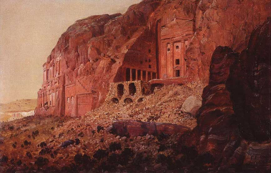 """The Urn Tomb, Silk Tomb, and Corinthian Tomb, Petra"" by Frederic Church, March 1868, oil on paper mounted on canvas, 13 x 20 1/8 inches, Olana State Historic Site, OL.1981.52"