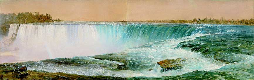 """Horseshoe Falls,"" by Frederic Church, December 1856-Jan 1857, oil on two pieces of paper mounted on canvas, 11 ½ x 35 5/8 inches, Olana State Historic Site, OL.1981.15"