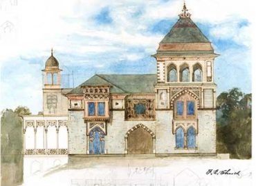 Olana-11a-Sketch-of-Southwest-Facade-Notecard