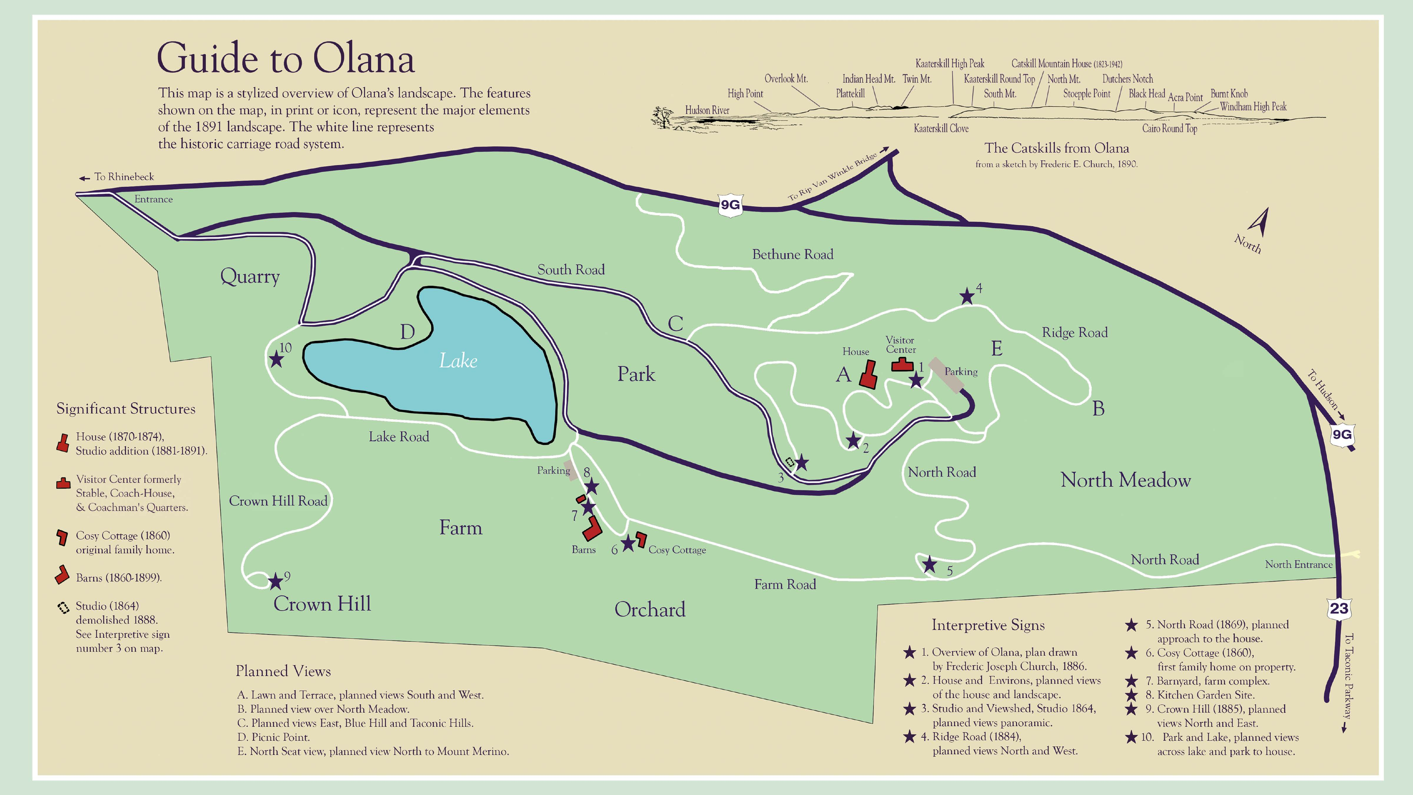 Map Olana NY State Historic Site Hudson River School Painter - Us open grounds map
